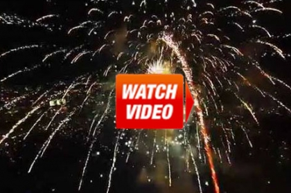 drone through fireworks